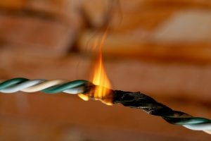 A wire on fire