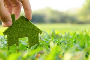 A green house cut-out on grass